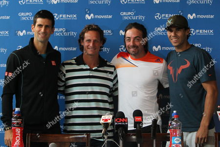 Serbian Tennis Player Novak Djokovic (l) Argentine Player David Nalbandian (2-l) Chilean Player Nicolas Massu (2-r) and Spanish Player Rafael Nadal (r) Pose For a Picture After a Press Conference Following a Tennis Clinic with Players in Wheel Chairs From the Teleton Oundation in Santiago De Chile Chile 19 November 2013 Spanish Player Rafael Nadal Argentine Player David Nalbandian and Serbian Player Novak Djokovic Are in Chile For the Farewell Event of the Chilean Tennis Player Nicolas Massu E Chile Santiago De Chile