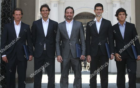 From Left to Right International Tennis Players Argentinean David Nalbandian; Spanish Rafael Nadal; Chilean Nicolas Massu; Serbian Novak Djokovic and Chilean Christian Garin Pose During a Meeting with President of Chile Sebastian Pi±era at La Moneda Palace in Santiago Chile on 20 November 2013 the Tennis Players Arrived to the Country to Participate in the Farawell Match of Chilean Nicolas Massu Current Captain of Davis Cup Chilean Team Chile Santiago