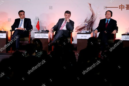 From Left to Right Chinese Prime Minister Li Keqiang; Colombian President Juan Manuel Santos; and China's 2012 Nobel Prize Winner Writer Mo Yan Participate in a Literary Encounter Colombia-china at San Carlos Palace Foreign Affairs Minister Facility in Bogota Colombia 22 May 2015 Li Keqiang is on a Tour of South American Countries Colombia Bogotß