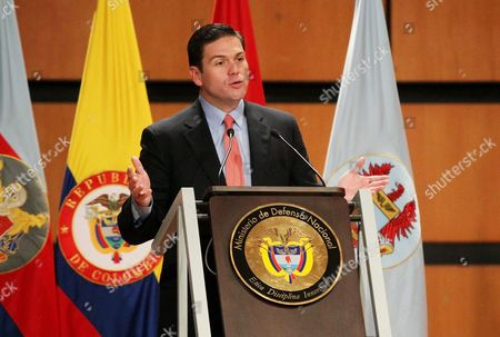 Colombian Minister of Defense Juan Carlos Pinzon Speaks at the 4th Expodefense in Bogota Colombia 29 October 2014 Colombia Bogota