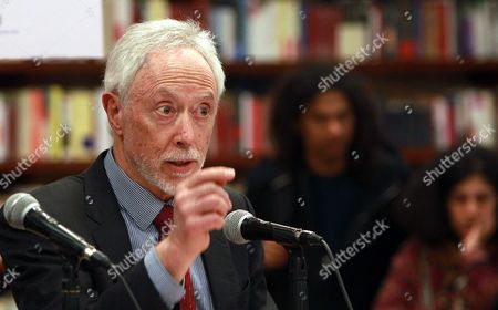South African Writer and Winner of Nobel Literature Award in 2003 John Maxwell Coetzee (c) Gestures As He Reads His New Story 'A House in Spain' During the Fourth Edition of the Festival Visiones of Mexico in Bogota Colombia 28 August 2014 Colombia Bogota