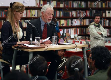South African Writer and Winner of Nobel Literature Award in 2003 John Maxwell Coetzee (c) Reads His New Story 'A House in Spain' As He is Accompanied by His Interpreter Soledad Costantini (l) During the Fourth Edition of the Festival Visiones of Mexico in Bogota Colombia 28 August 2014 Colombia Bogota