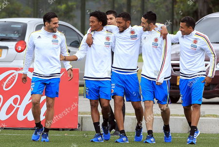 Colombian National Soccer Team Players (l-r) Radamel Falcao Juan Cuadrado Carlos Valdes Camilo Vargas and Jeison Murillo Attend a Training Session in Bogota Colombia 29 May 2015 the Colombian Team Will Participate in the Copa America 2015 in Chile in June Colombia Bogota