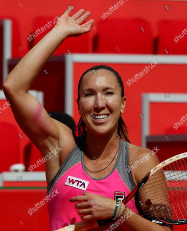 Stock Picture of Serbian Tennis Player Jelena Jankovic Celebrates Her Victory Over French Mathilde Johansson During Their Claro Open Colsanitas Tournament Held in Bogota Colombia on 9 April 2014 Jankovic Won 7-5 7-5 Colombia Bogota