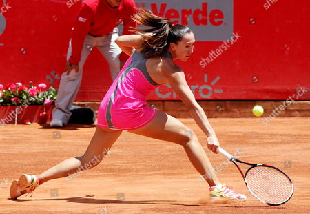 Serbian Tennis Player Jelena Jankovic Returns the Ball to French Mathilde Johansson During Their Claro Open Colsanitas Tournament Held in Bogota Colombia on 9 April 2014 Jankovic Won 7-5 7-5 Colombia Bogota