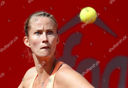French Tennis Player Mathilde Johansson Returns the Ball to Serbian Jelena Jankovic During Their Claro Open Colsanitas Tournament Held in Bogota Colombia on 9 April 2014 Jankovic Won 7-5 7-5 Colombia Bogota