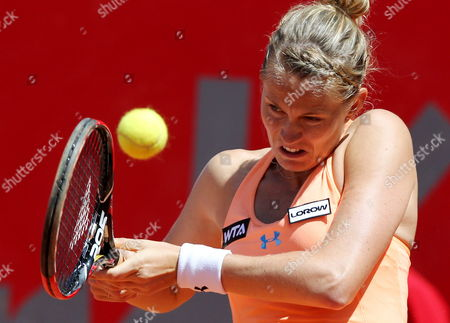 Stock Photo of French Tennis Player Mathilde Johansson Returns the Ball to Serbian Jelena Jankovic During Their Claro Open Colsanitas Tournament Held in Bogota Colombia on 9 April 2014 Jankovic Won 7-5 7-5 Colombia Bogota
