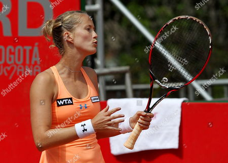 Stock Image of French Tennis Player Mathilde Johansson Reacts After Losing a Point to Serbian Jelena Jankovic During Their Claro Open Colsanitas Tournament Held in Bogota Colombia on 9 April 2014 Jankovic Won 7-5 7-5 Colombia Bogota