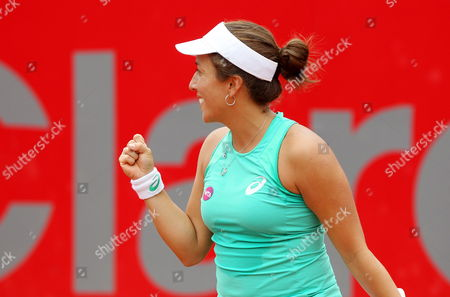 Irina Falconi of the Usa Celebrates After Defeating German Dinah Pfizenmaier During Their Second Round Match at the Colsanitas Tennis Open in Bogota Colombia 15 April 2015 Colombia Bogota