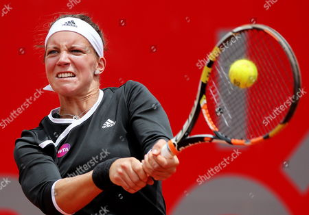 Germany's Dinah Pfizenmaier in Action Against Usa's Irina Falcone During Their Second Round Match at the Colsanitas Tennis Open in Bogota Colombia 15 April 2015 Colombia Bogota