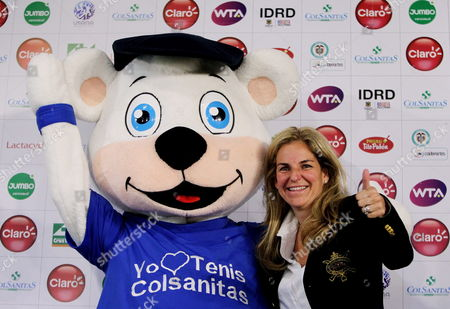Spanish Former Tennis Player Arantxa Sanchez Vicario Poses Next to a Mascot During the Presentation of the Wta Claro Open Colsanitas in Bogota Colombia 11 March 2014 the Event Will Run From 05 to 13 April 2014 Colombia Bogota