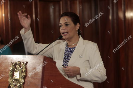 Guatemalan Vice President Roxana Baldetti Speaks During a Press Conference About an Alleged Embezzlement Ring in the Guatemalan Tax Superintendent's Office and the Customs Office Discovered This Week by the International Commission Against the Impunity in Guatemala (cicig) in Guatemala City Guatemala 19 April 2015 Juan Carlos Monzon the Private Secretary of the Guatemalan Vice President who Traveled This Week to South Korea Accompanied by Baldetti and who is Allegedly Linked with the Corruption Ring is Currently Fugitive According to Reports Guatemala Guatemala City