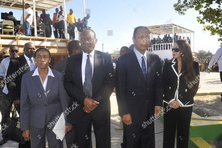 Haitian Politician and Former Dictator Jean-claude Duvalier Known As Baby Doc and Former President Prosper Avril (2-l) Are Seen During Commemoration Acts For 210th Anniversary of Haitian Independence at Gonaives Artibonite Haiti 01 January 2014 Haiti Gonaives