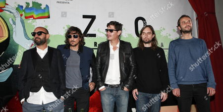 (l-r) Members of Mexican Band Zoe Jesus Baez Leon Larregui Sergio Acosta Rodrigo Guardiola and Angel Mosqueda Pose During a Press Conference in Mexico City Mexico 04 September 2014 Zoe Announced Their Concert at the Foro Sol in Mexico City on 08 November As Part of Programaton Tour Which Has Brought Them to United States Central and South America Spain and England Mexico Mexico City