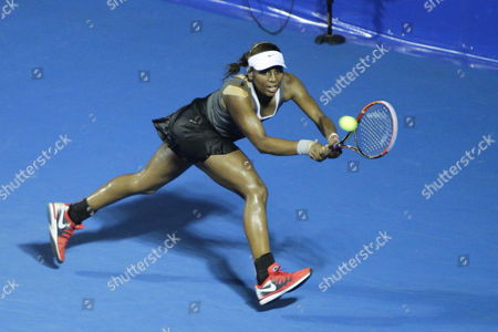 Us Tornado Alicia Black in Action Against Serbian Bojana Jovanovski During Their Match in the First Day of the Mexican Open Tennis Tournament in Acapulco Mexico 24 February 2014 the Tournament Runs From 24 February to 01 March Mexico Acapulco