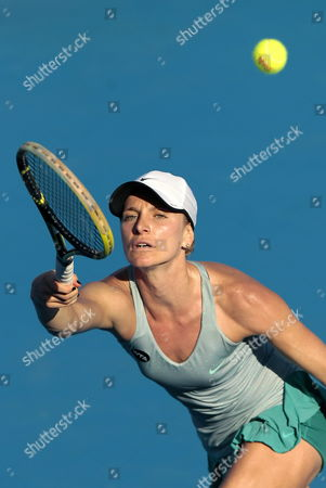 Bulgarian Sesil Karatantcheva in Action Against Swiss Timea Bacsinszky During Their Semifinals Match at the Mexican Open in Acapulco Mexico 27 February 2015 Mexico Acapulco