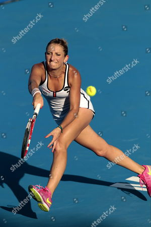 Swiss Timea Bacsinszky in Action Against Bulgarian Sesil Karatantcheva During Their Semifinals Match at the Mexican Open in Acapulco Mexico 27 February 2015 Mexico Acapulco