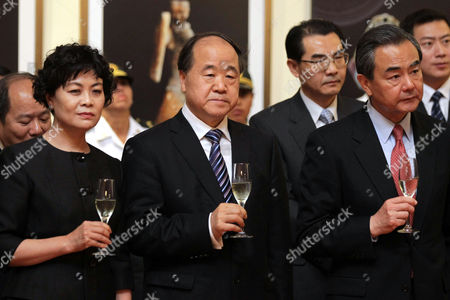 2012 Nobel Prize in Literature Chinese Novelist Mo Yan (c) Attends a Ceremony As Part of the Visit of Chinese Prime Minister Li Keqiang (not Pictured) at the National Museum of Archaeology Antropology and History in Lima Peru 23 May 2015 Li is Peru As Part of His Tour in South American Countries Peru Lima
