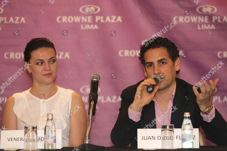 Peruvian Tenor Juan Diego Florez Speaks As Russian Soprano Venera Gimadieva (l) Looks on During a Press Conference in Lima Peru 11 November 2014 Florez Spoke About His Next Debut As Romeo in the Opera 'Romeo and Juliet' Composed by Frenchman Charles Gounod the Spectacle Will Be Represented in the National Grand Theater of Lima on 19 22 and 25 November Before Taking on the Major Theaters of Europe Peru Lima
