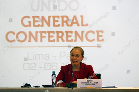 President of Foundation Eu-alc (european Union-latin America and the Caribbean) and Moderator of the Event Benita Ferrero-waldner During the Meeting of Ministers of Industry of Latin America and the Caribbean in Lima Peru 01 December 2013 the Event is Organized Prior of 15th Conference of Unido Which Will From 02 to 06 December 2013 in the Peruvian Capital City Peru Lima