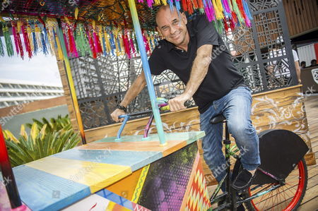 Co-founder and Current President of Cirque Du Soleil Canadian Guy Laliberte Poses During an Interview in Ibiza Mallorca Islands Spain 01 June 2015 where He Explained the Development of a Park in Sainte-helene Island in Canada Spain Ibiza