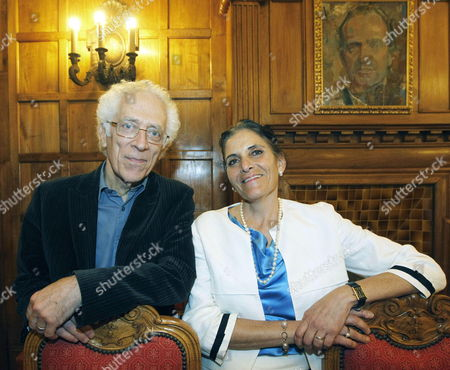 Stock Image of President of Mexican Foundation Cervantina Ana Sara Ferrer (r) Poses with Bulgarian Philosopher and Historian Tzvetan Todorov (r) in La Magdalena Palace Santander Northern Spain 07 November 2013 Todorov was Awarded with the Eulalio Ferrer Prize 2013 Spain Santander