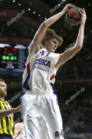 Cska Moscow's Russian Andrei Kirilenko Jumps For a Bounce During Their Euroleague Final Four Third Place Game Against Fenerbahce Ulker Held at the Barclaycard Center in Madrid Spain 17 May 2015 Spain Madrid