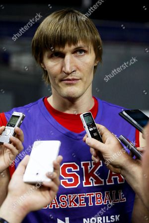 Cska Moscow's Winger Andrei Kirilenko Talks to Journalists During His Team's Training Session at Barclaycard Center in Madrid Spain 14 May 2015 Cska Moscow Will Face Olympiacos Piraeus in the Semi Final Game of the Euroleague Final Four Basketball Tournament Spain Madrid