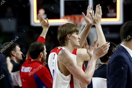 Cska Moscow's Player Andrei Kirilenko Celebrates Their Win at the End of Their Euroleague Final Four Third Place Game Played Against Fenerbahce Ulker Istanbul at the Barclaycard Center in Madrid Spain 17 May 2015 Spain Madrid