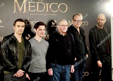 Stock Picture of (l-r) French Actor Olivier Martinez British Actor Tom Payne Us Writer Noah Gordon Swedish Actor Stellan Skarsgard and German Director Philipp Stoelzl Pose During the Presentation of 'The Physician' in Madrid Spain 19 December 2013 the Movie Based on the Novel of the Same Title by Us Writer Noah Gordon Opens in Spanish Cinemas on 25 December Spain Madrid