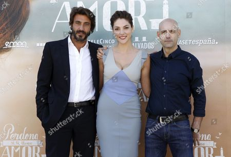(l-r) Italian Actor/cast Member Daniele Liotti Us-spanish Actress/cast Member Paloma Bloyd and Spanish Director Joaquin Llamas Pose During a Photocall For 'Sorry if i Call You Love' (perdona Si Te Llamo Amor) in Madrid Spain 16 June 2014 the Movie is Based on the Homonymous Novel by Italian Writer Federico Moccia Spain Madrid