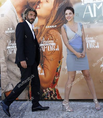 Italian Actor/cast Member Daniele Liotti (l) and Us-spanish Actress/cast Member Paloma Bloyd (r) Arrive For a Photocall For 'Sorry if i Call You Love' (perdona Si Te Llamo Amor) in Madrid Spain 16 June 2014 the Movie is Based on the Homonymous Novel by Italian Writer Federico Moccia Spain Madrid