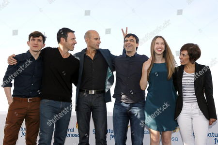 Spanish Film Maker Jorge Dorado (3-r) Us Actors and Cast Members Taissa Farmiga (2-r) and Mark Strong (3-l) and Producers Juan Sola (l) Peter Charles Safran (2-l) and Mercedes Gamero Pose During the Presentation of Their Film 'Mindscape' at the 46th Sitges International Fantastic Film Festival in Sitges Barcelona Province Catalonia Region North-eastern Spain Spain 13 October 2013 'Mindscape' Competes in the Official Section of the Festival Running From 11 to 20 October Spain Sitges