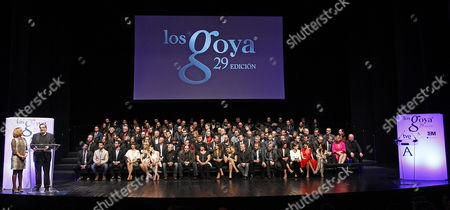 Spanish Film Academy President Enrique Gonzalez Macho (2-l) Gives a Speech During the Presentation of the 29th Goya Film Awards Gala Held at Canal Theatre in Madrid Spain 19 January 2015 the 29th Goya Film Awards Ceremony Will Be Host on 08 February 2015 Spain Madrid