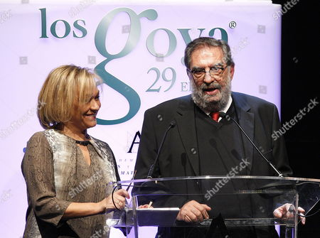 Stock Picture of Spanish Film Academy President Enrique Gonzalez Macho (r) and Vicepresident Judit Collel (l) Speak on Stage During the Presentation of the 29th Goya Film Awards Gala Held at Canal Theatre in Madrid Spain 19 January 2015 the 29th Goya Film Awards Ceremony Will Be Host on 08 February 2015 Spain Madrid