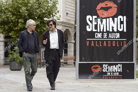Portuguese Film Maker Pedro Costa (l) and Spanish Film Maker Victor Erice (r) Walk Prior to the Presentation of Thier Last Movie 'Historial Center' by Pedro Costa Victor Erice Manoel De Oliveira and Aki Kaurismaki That Runs out of the Official Competition of the 58th International Cinema Week of Valladolid (seminci) Held in Valladolid Spain 22 October 2013 Spain Valladolid