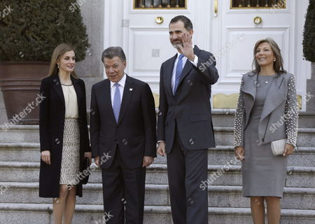 Spain's King Felipe Vi (2-r) Queen Letizia (l) Colombian President Juan Manuel Santos (2-l) and His Wife Maria Clemencia Rodriguez De Santos Pose Before an Official Luncheon at the Palace of La Zarzuela in Madrid Spain 01 March 2015 Santos is on a Three-day Long Visit to Spain Spain Madrid