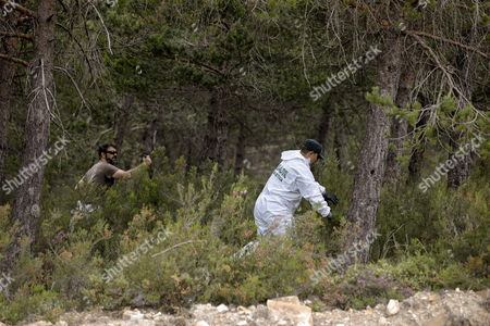 Stock Picture of Spanish Guardia Civil Officers Comb the Woods Looking For Any Clue of the Whereabouts of the Dutch Man Disappeared Back in 2010 Martin Verfondern in a Veiga Near Orense in Galicia North-western Spain 20 June 2014 a Towing Vehicle Removed a Burnt Car Found Earlier on the Week Which is Thought to Belong to the Dutch Citizen That Went Missing Spanish Guardia Civil Informed on 20 June Spain Ourense