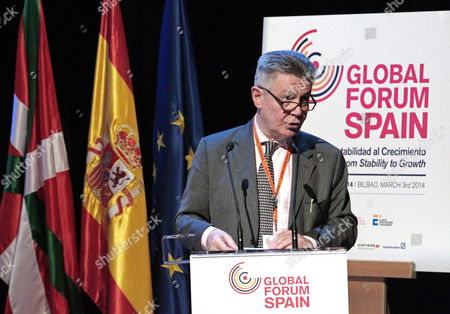 European Commissioner For Trade Belgian Karel De Gucht Gives a Speech During a Meeting Enttitle 'Globalizations Chances For European Companies' on the Occassion of the Global Forum Spain 2014 in Bilbao Basque Country Spain 03 March 2014 the First Edition of the Global Forum 2014 'Spain: From Stability to Growth' is Discussing About the Central Issues of the European and the World Economies in 2014 Spain Bilbao