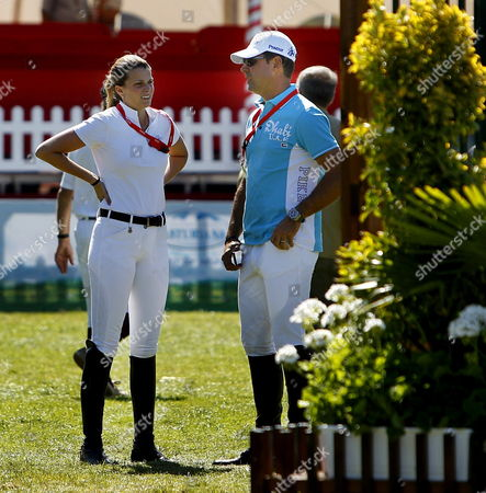 Greek Athina Onassis De Miranda Chats with His Husband Brazilian Alvaro Alffonso De Miranda During the International Horse Jump Contest Held at Las Mestas' Race Course of Gijon Northern Spain on 01 September 2013 Spain Gijon