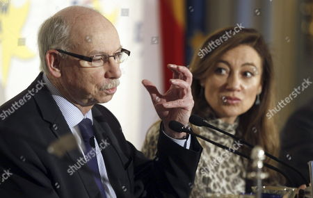 European Commissioner For Financial Programming and the Budget Janusz Lewandowski (l) Delivers a Speech As Spanish Secretary For State For Budget and Public Spending Marta Fernandez Curras Listens During a Forum Europa Meeting in Madrid Spain 14 February 2014 Spain Madrid