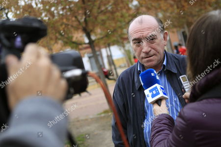 Luis Jimenez (c) Son of 85-year-old Vallecas' Resident Carmen Martinez Talks to the Media at Vallecas Neighborhood in Madrid Central Spain 23 November 2014 Spanish Primera Division's Soccer Club Rayo Vallecano is to Help Martinez who was Evicted on 21 November From Her House in Vallecas where Had Lived There For 50 Years She was Evicted Due to His Son's Debt Worth at 70 000 Euro Spain Madrid