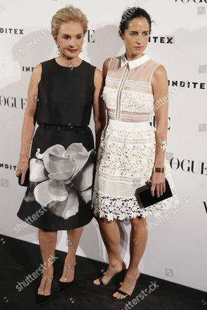 Designer Carolina Herrera (l) and Her Daughter Carolina Adriana (r) Arrive to the 4th Edition of Vogue's Competition 'Who's on Next' in Madrid Spain 19 May 2015 Vogue Dedicated This Year's Edition to Venezuelan Designer Carolina Herrera Vogue's Award Highlights the Surprise of the Year Designer Spain Madrid