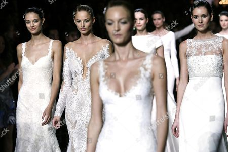 A Pictuer Made Available on 09 May 2015 Shows Models Presenting Creations by French Designer Herve Moreau For Spanish Label Pronovias During the Gaudi Novias Barcelona Bridal Week in Barcelona Spain 08 May 2015 the Fashion Event Ended on 08 May Spain Barcelona