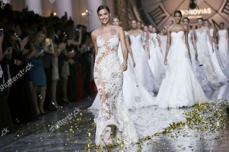 A Pictuer Made Available on 09 May 2015 Shows Russian Model Irina Shayk Presenting a Creation by French Designer Herve Moreau For Spanish Label Pronovias During the Gaudi Novias Barcelona Bridal Week in Barcelona Spain 08 May 2015 the Fashion Event Ended on 08 May Spain Barcelona