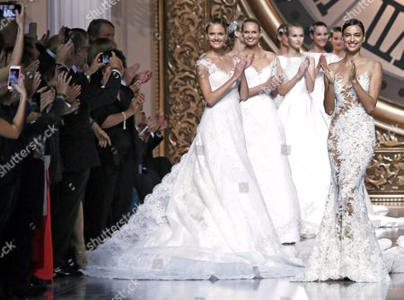 A Pictuer Made Available on 09 May 2015 Shows Russian Model Irina Shayk (r) Applauding with Other Models at the End of the Presentation of the Collection of French Designer Herve Moreau For Spanish Label Pronovias During the Gaudi Novias Barcelona Bridal Week in Barcelona Spain 08 May 2015 the Fashion Event Ended on 08 May Spain Barcelona