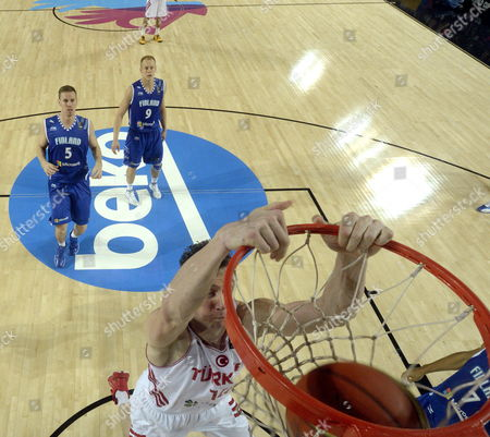 Turkish Player Omer Asik Dunks During the Fiba Basketball World Cup Match Group C Match Between Turkey and Finland Played at Bizkaia Arena (bec) Pavilion in Bilbao Northern Spain 03 September 2014 Spain Bilbao