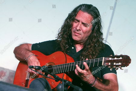 Spanish Flamenco Guitarist Jose Fernandez Torres 'Tomatito' Performs on Stage at the Fondon Flamenco Festival in Fondon Almeria Southern Spain 11 August 2014 Spain Fondon