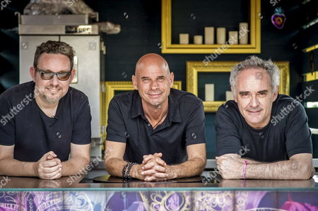 Spanish Chef Ferran Adria (r) His Brother Albert (l) and Cirque Du Soleil's Creator Guy Laliberte (c) Pose For Photographer As They Present Their New Restaurant 'Heart' in Ibiza Balearic Island Spain 29 May 2015 (issued 30 May) the Restaurant Founded in Collaboration with Cirque Du Soleil's Creator Will Open on 30 June Spain Ibiza