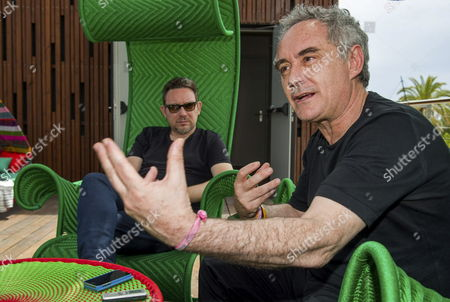 Spanish Chef Ferran Adria (r) and His Brother Albert (l) Talk to Journalist to Present Their New Restaurant 'Heart' in Ibiza Balearic Island Eastern Spain 29 May 2015 the Restaurant Founded in Collaboration with Cirque Du Soleil's Creator Guy Laliberte (unseen) Will Open on Next 30 June Spain Ibiza